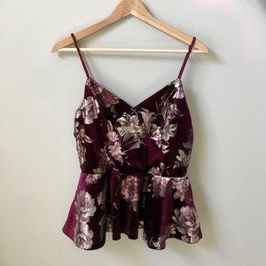 Charlotte Russe Velvet Burgundy Floral Top